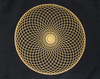 Crystal Grid Cloth TORUS 12 Inch Square Black 100% Cotton Gridding Lightwork Cloths