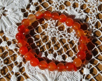 Carnelian Power Bracelet 8mm Natural Gemstone Beads Crystal Jewelry Component Beaded 7 Inch Bead Strand Red Orange
