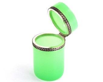 Antique Opaline Murano Glass Trinket Box Jadeite Green Jewelry Casket Vanity Jar Ornate Banding Circa 1950