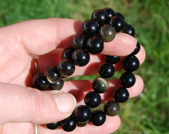 10mm Gold Sheen Obsidian Crystal Bracelet Natural Gemstone Beads Crystal Jewelry Component Beaded 7 Inch Bead Strand Goldsheen