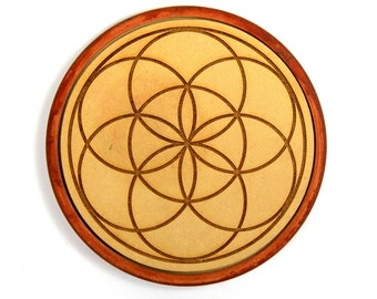 Wooden Crystal Grid SEED OF LIFE 6 Inch Round Circle Gridding Lightwork Wood Altar Tile