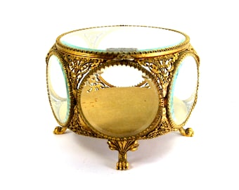 Antique Ormolu Jewelry Casket Made by Guildcrest Beveled Glass Gold Filigree Box Lion Paw Feet CIRCA 1940