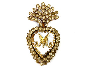 Jeweled Sacred Heart Ex Voto Milagro Cachette Bronze Burning Heart Santos Saint Locket Box Rhinestones Rhinestone Mother of Pearl Ornament