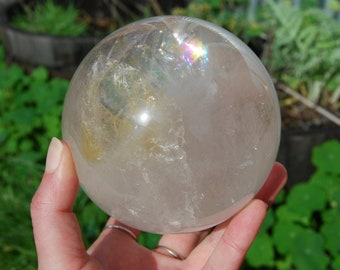 "HUGE 3.6LB 4.25"" Clear Quartz Crystal Sphere Ball Polished Natural Crystals Rainbows Master Healer Power Gazing XL Large Big"