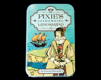 Pixie's Astounding Lenormand Oracle Card Deck and Book in Tin Box Divination Oracle Small Pocket Size Vintage Antique Style Tarot