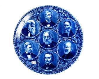 Antique Rowland Marsellus Flow Blue American Poets Plate Edgar Allan Poe Emerson Longfelllow Staffordshire 1890