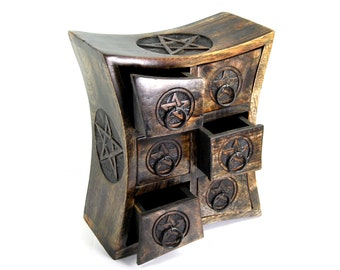 Wicca Pentagram Curved Table Cabinet Chest with 6 Drawers Carved For Herbs Incense Altar Tools Jewelry Storage