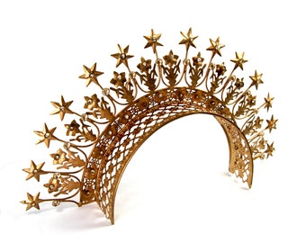 Extra Large Santos Tiara with Lilies Stars Rhinestones Brass Antique Gold Finish Adult Size
