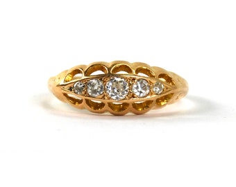 Antique Diamond 5 Stone Ring .24 Total Diamond Weight 18 Karat Yellow Gold Boat Hallmarked British English Size 8 Made in 1914