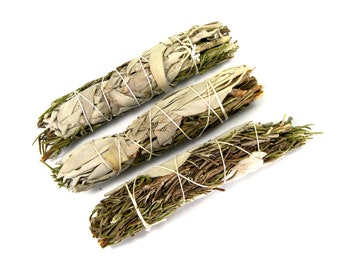 "ONE 4""  Rosemary and California White Sage Natural Mixed Bundle Smudge Stick Medium 4 Inches Natural Incense Blend"