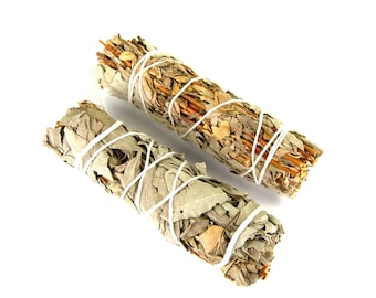 "ONE 4"" Lavender and California White Sage Natural Mixed Bundle Smudge Stick Medium 4 Inches Natural Incense Blend"