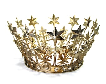 """Extra Large Santos Crown with Lilies Stars Rhinestones Brass Antique Silver Finish Adjustable 6-7"""" Diameter"""