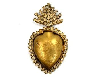 Jeweled Sacred Heart Ex Voto Milagro Cachette Bronze Burning Heart Santos Saint Locket Box Rhinestones Rhinestone Ornament