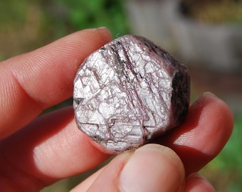 "27g 1"" Hexagon Ruby Corundum Crystal Trigonic Record Keeper Krishna Spear Vedic Sapphire Ayurvedic"