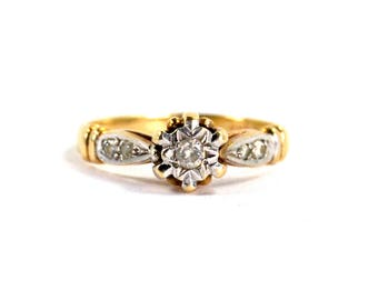 Antique Art Deco Diamond Ring Two Toned Yellow and White 9 Karat Gold .10 Total Carat Diamond Weight English Hallmarks Sheffield Star 1930
