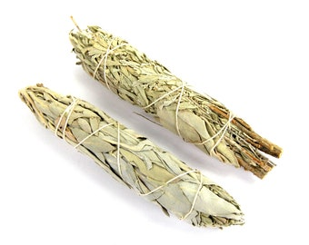 "ONE 4"" Blue Mount Shasta and White Sage Natural Mixed Bundle Smudge Stick Medium 4 Inches Natural Incense Blend Torch"