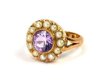 Antique Edwardian Amethyst and Seed Pearl Ring 18 Karat Yellow Gold 18K Full Swedish Hallmarks Seedpearl Size 6.5 Made in 1903