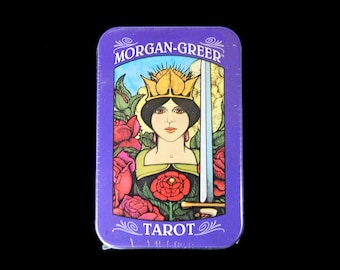 Morgan Greer Tarot Card Deck and Book in Tin Box Divination Oracle Small Pocket Size Vintage Antique Style