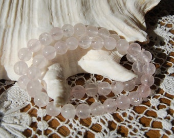 Rose Quartz Crystal Power Bracelet 8mm Natural Gemstone Beads Crystal Jewelry Component Beaded 7 Inch Bead Strand Pink Healing Crystals Love