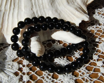 Black Obsidian Power Bracelet 8mm Natural Gemstone Beads Crystal Jewelry Component Beaded 7 Inch Bead Strand