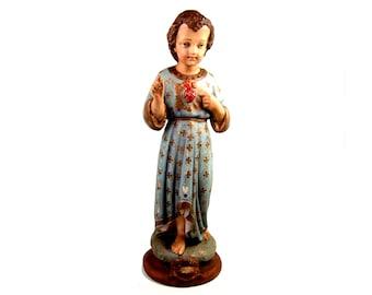 "Infant Jesus with Burning Sacred Heart Santos Doll Statue 16.5"""