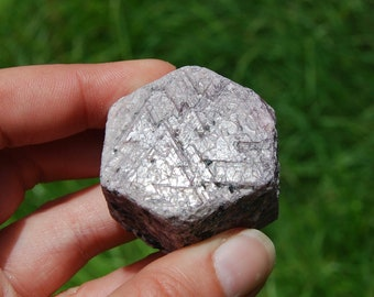 "104g 1.5""  Hexagon Ruby Corundum Crystal Trigonic Record Keeper Krishna Spear Vedic Sapphire Ayurvedic Natural"