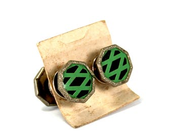 Antique Art Deco Snap Cufflinks Double Sided Silver Toned Green Black Celluloid Cuff Links Circa 1920