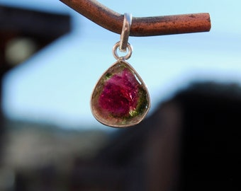 Natural Watermelon Tourmaline Slice and Sterling Silver Pendant for Necklace Jewelry Component from Brazil
