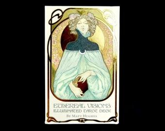 Ethereal Visions: Illuminated Tarot Deck Matt Hughes Divination Tools Art Nouveau Alphonse Mucha
