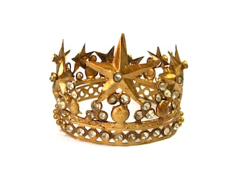 """Small Santos Crown 2.5"""" Diameter with Stars Rhinestones Antique Gold Finish Adjustable Size Diameter Antiqued French Shabby Chic"""