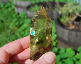 "109g 2.75"" Yellow Quartz Crystal Point Polished Self Standing Obelisk Tower Towers Healing Crystals Devic Temple Rainbow Rainbows"