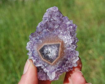"89g 2.75"" CRYSTAL CAVE Amethyst Stalactite Slice Flower Uruguay Crystal Healing Natural Druzy Geode Specimen Piece Cathedral Cluster Agate"