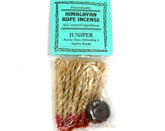 Juniper Himalayan Rope Incense All Natural Juniper 20 Ropes Bundle with Burner Tibetan