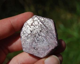 "53g 1.5"" Natural Hexagon Ruby Corundum Crystal Trigonic Record Keeper Krishna Spear Vedic Sapphire Ayurvedic"