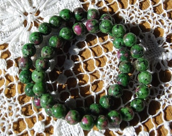 8mm or 6mm Ruby Zoisite Power Bracelet Natural Gemstone Beads Crystal Jewelry Component Beaded 7 Inch Bead Strand Red Green