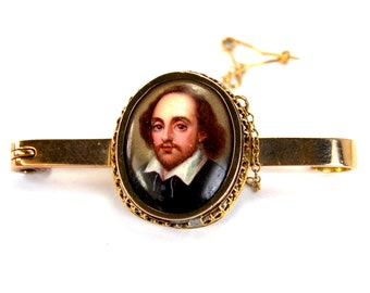 RARE Antique Portrait Miniature Brooch William Shakespear Solid 9 Karat Gold Hand Painted Porcelain Bar Pin 9k circa 1900