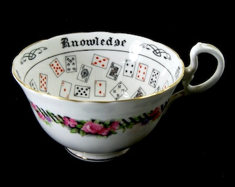 Antique Aynsley Cup of Knowledge Fortune Telling Teacup Tea Leaf Reading Divination circa 1930