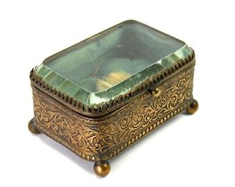 ANTIQUE French Victorian Ormolu Jewelry Box Casket Beveled Glass Gold Dore Filigree Box CIRCA 1880