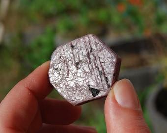 "35g 1.25"" Hexagon Ruby Corundum Crystal Trigonic Record Keeper Krishna Spear Vedic Sapphire Ayurvedic"
