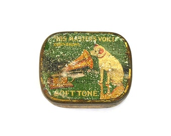 Antique RCA Gramophone Needle Tin His Master's Voice Green Dog Victor Victrola Masters
