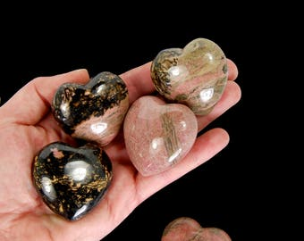 "ONE 1.75"" GORGEOUS Natural Rhodonite Crystal Carved Puffy Heart Talisman Altar Tools Chakra Love Gentle Healing 45mm"
