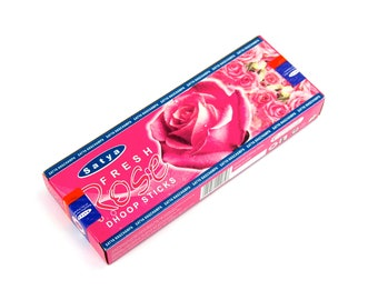 Satya Fresh Rose Incense Dhoop Sticks 45 Gram Box with Burner