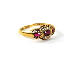 Antique Victorian Ruby and Rose Cut Diamond Ring 18 Karat Yellow Gold 18k English Hallmarks Size 8 Circa 1890
