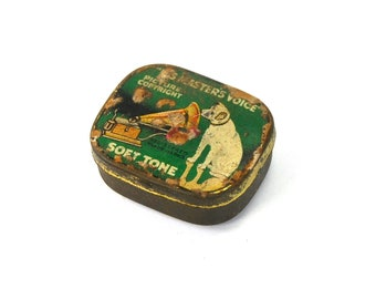 Antique RCA Gramophone Needle Tin His Master's Voice Yellow Dog Victor Victrola Masters