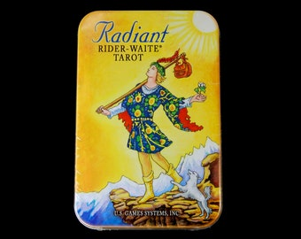 Radiant Rider-Waite Tarot Card Deck and Book in Tin Box Divination Oracle Small Pocket Size