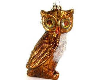 ON SALE! Glass Woodland Owl Christmas Ornament Gold Bronze 5.5 Inches Tall Mercury Silver Glitter Details
