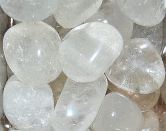 CLEAR QUARTZ CRYSTAL Tumbled Stone 1 or Set of 6 Stones Wholesale Natural Tumble Medium .75 to 1.25 Inches Crystals Bulk Discount