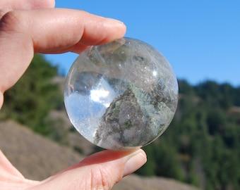 "190g 2.25"" Lodolite Crystal Sphere Ball Specimen Landscape Quartz Garden Quartz Inclusions Rainbow Phantom Shamanic Dreamstone Dream Stone"