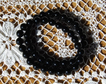 Black Onyx Power Bracelet 8mm Natural Gemstone Beads Crystal Jewelry Component Beaded 7 Inch Bead Strand