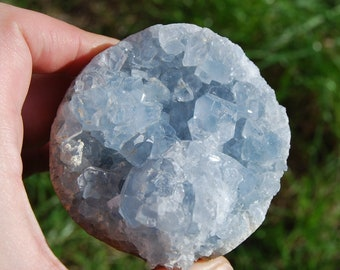 "509g 3"" Celestite Geode Crystal Sphere Celestine Raw Natural Crystals Healing Angelic Communication Sky Blue Cluster Cave Ball Extra Large"